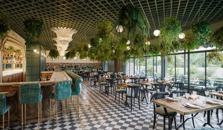 Commodore Perry Estate rendering of restaurant Lutie's Garden.