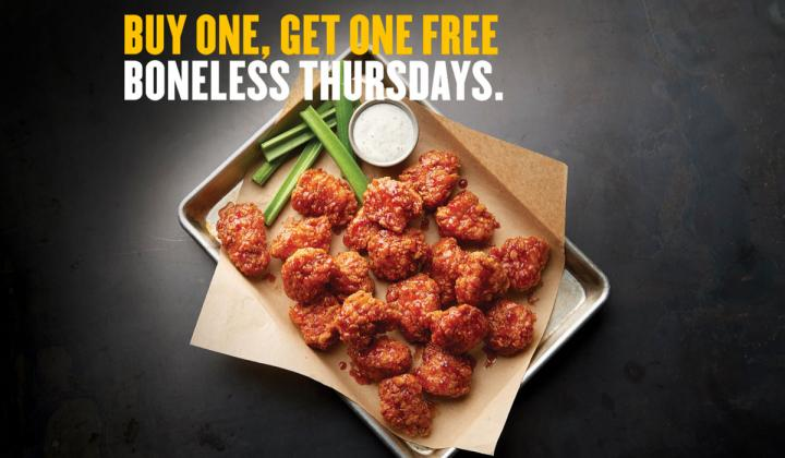 Boneless wings at Buffalo Wild Wings.