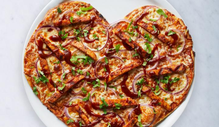 California Pizza Kitchen heart-shaped pizza.