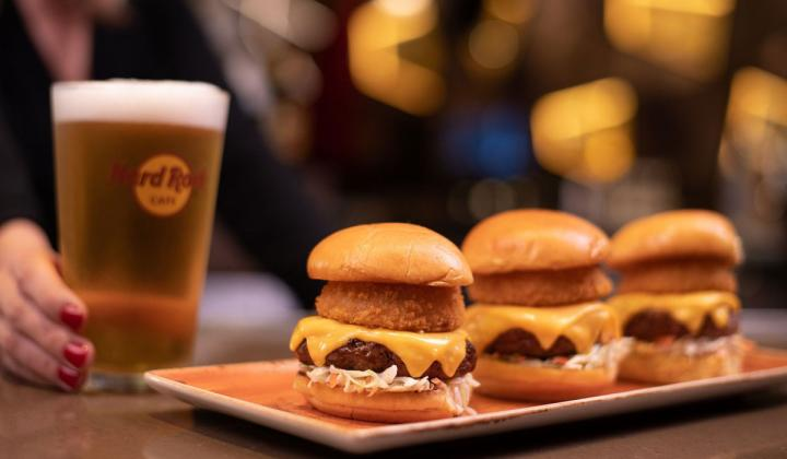 Three burger sliders at Hard Rock Cafe.
