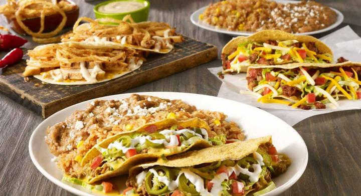 On The Border Beyond Meat tacos and other items.