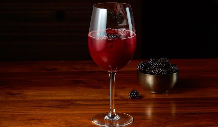A glass of sangria.