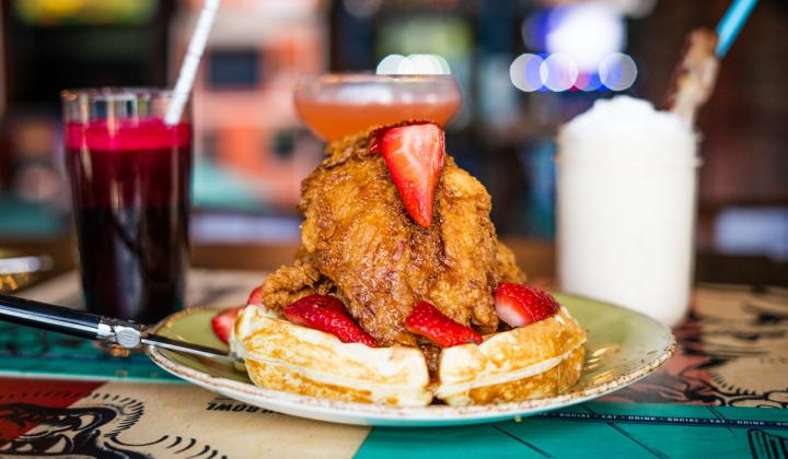 Chicken and Waffles at Punch Bowl Social restaurant.