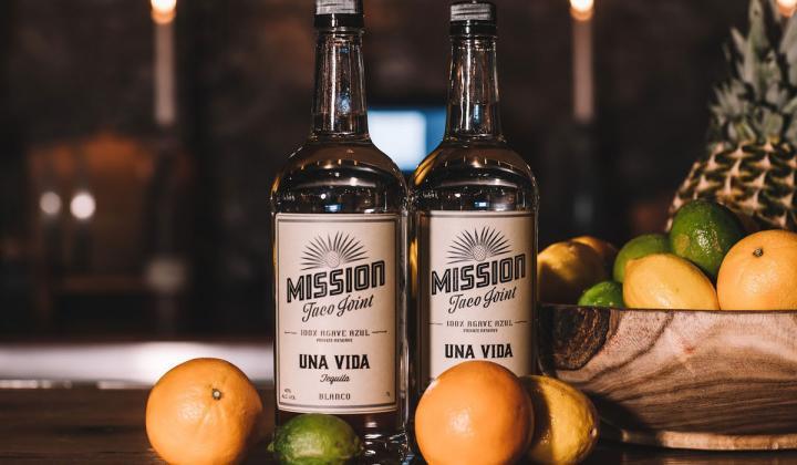 The Mission Taco Joint Una Vida blanco tequila.