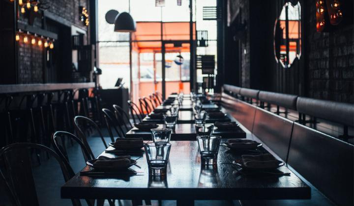 Inside an empty restaurant.