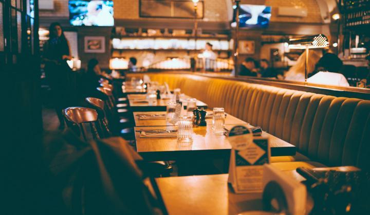 Inside an empty Italian restaurant.