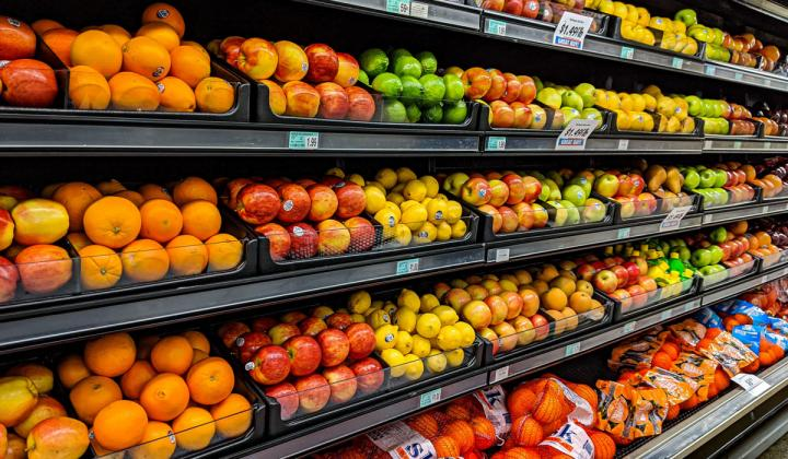 Fruit section at a grocery store.