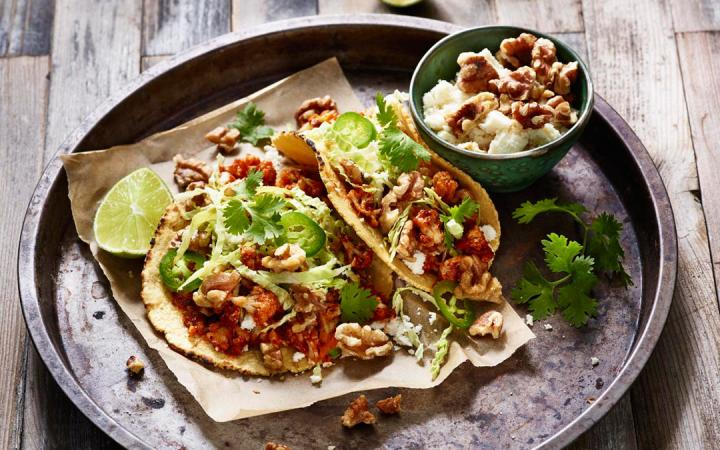 Walnuts can easily replace meat in main dishes, such as tacos.