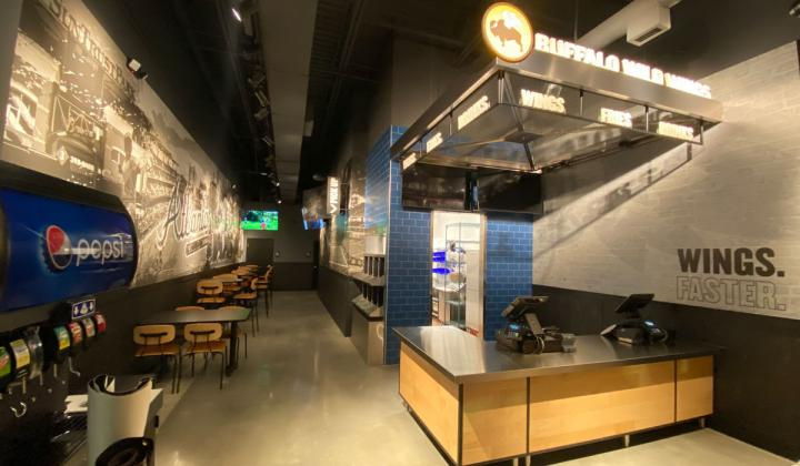 Buffalo Wild Wings to-go restaurant interior.