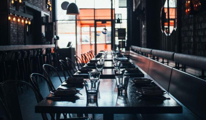 Inside a darkly lit restaurant.