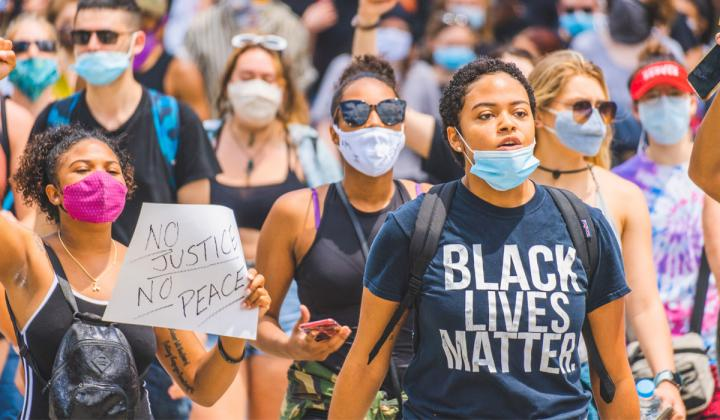 Protestors march for Black Lives Matter.