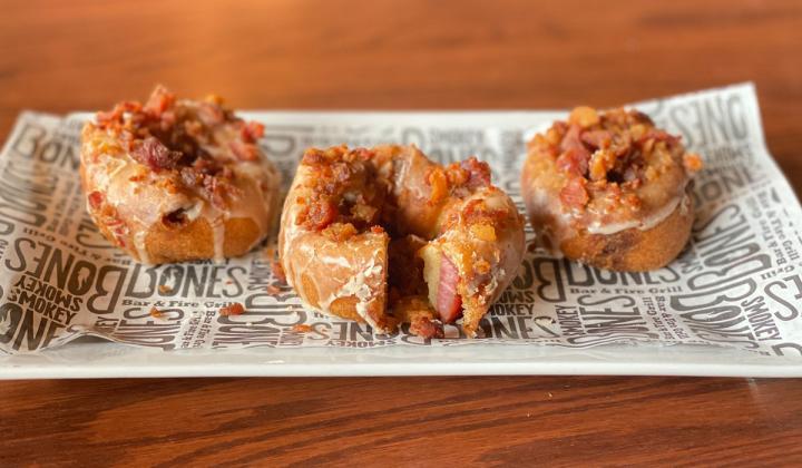 Smokey Bones bacon doughnut.