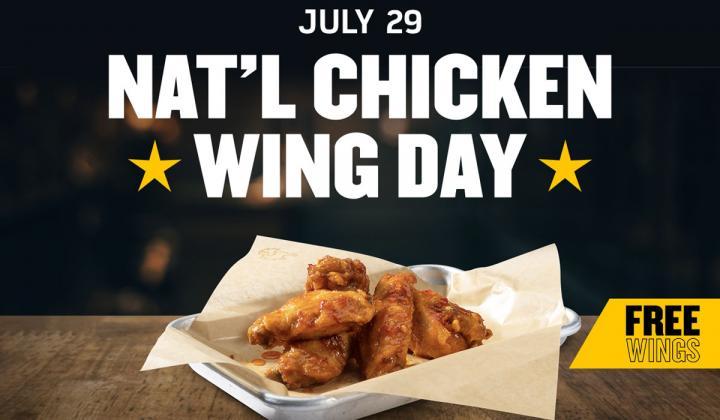 Buffalo Wild Wings free chicken wing day deal.