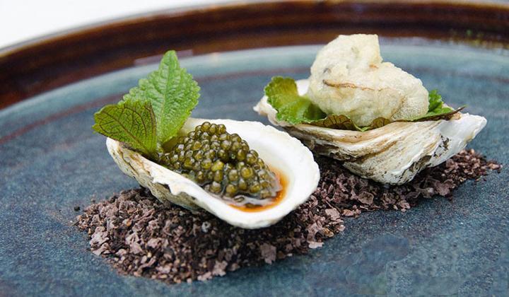 Osetra Caviar & Beau Soliel Oyster Beignet, Shiso Mignonette.