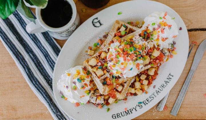 Fruity Pebbles waffle at Grumpy's restaurant.