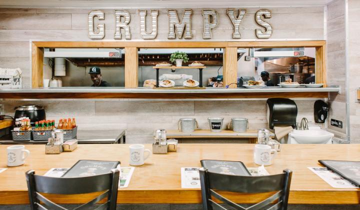 Grumpy's interior sign in restaurant.