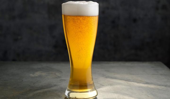 Buffalo Wild Wings beer in a glass.