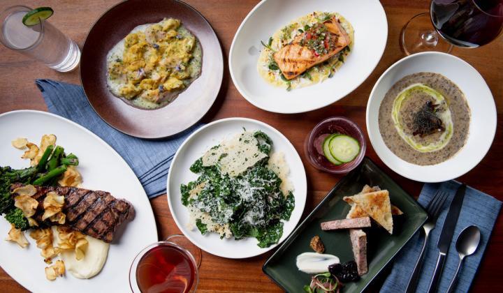 Elm & Good food on plates on a table.