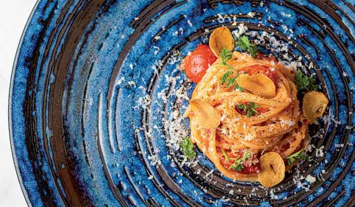 Spiaggia's spaghetti Pomodoro with bone Marrow Cipollini, and Horseradish