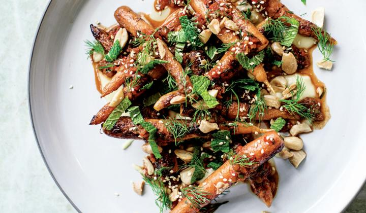 At Pacific Standard Time, Vegetables soar to new heights through dishes like Wood Oven–Roasted Carrots with onion purée, almonds, dill, and mint.