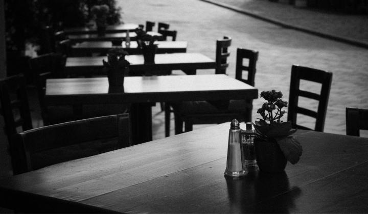 Empty restaurant black and white image.