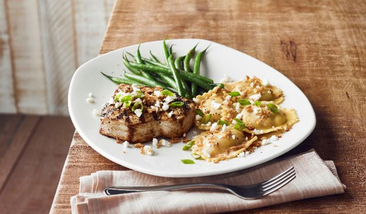 Bonefish Grill's Grilled Swordfish & Pumpkin Ravioli.