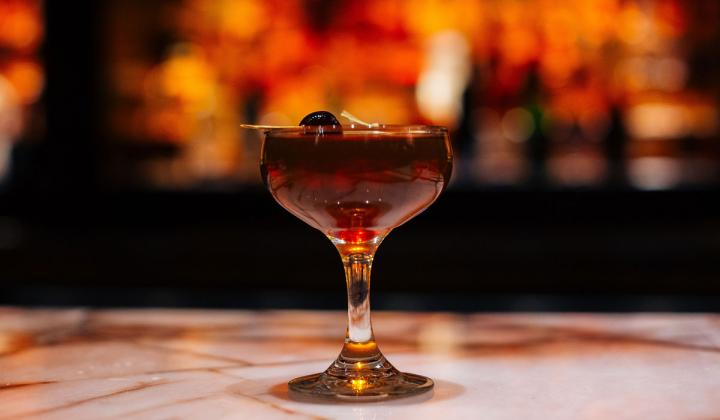 Cocktail against a dark background.