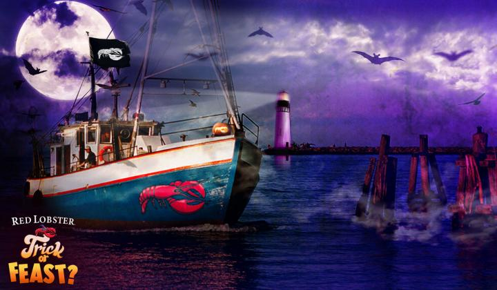 Red Lobster wallpaper with a boat at night.