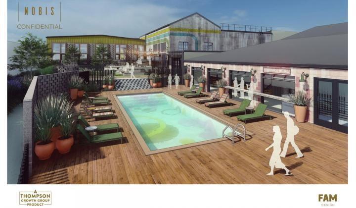 Thompson Growth Group Nobis rendering poolside.