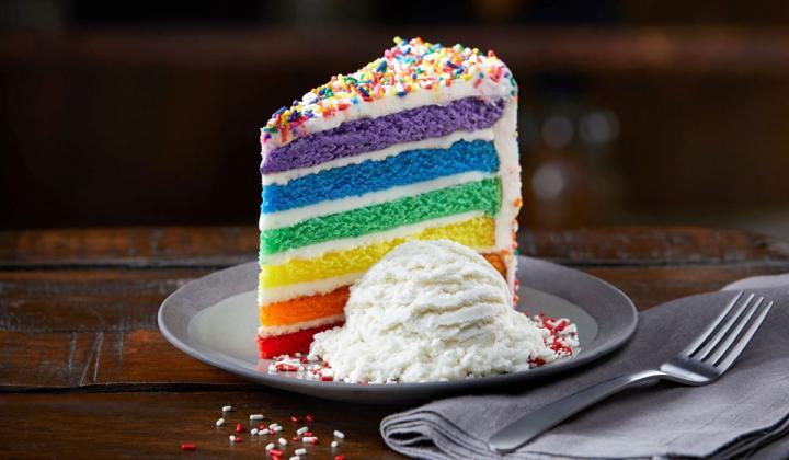 TGI Fridays rainbow cake.