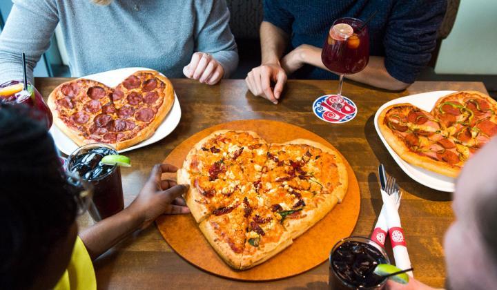 Boston's Pizza Restaurant & Sports Bar heart-shaped pizza.