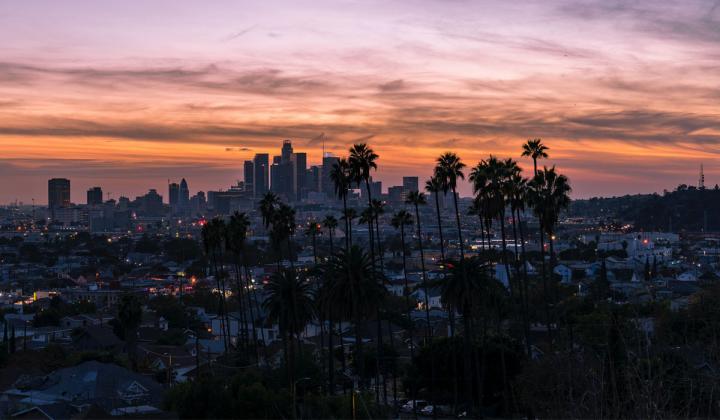 Los Angeles skyline at sunset.