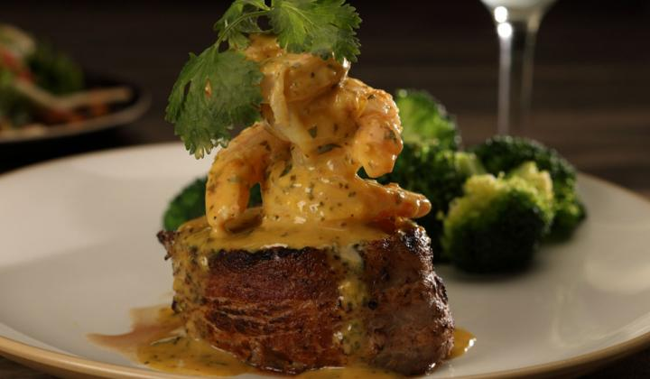 Firebirds Wood Fired Grill Filet and Shrimp.