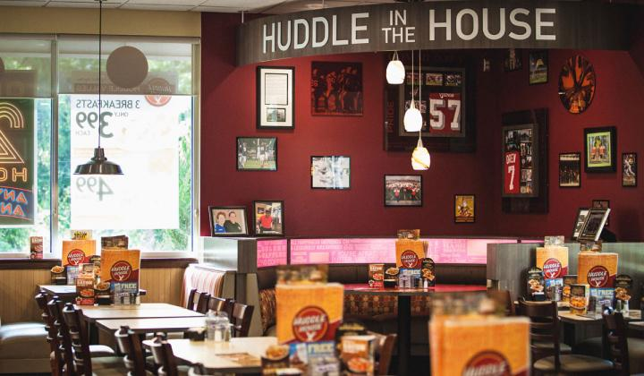 Huddle House interior of restaurant.