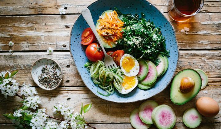 Dish of veggies and eggs.