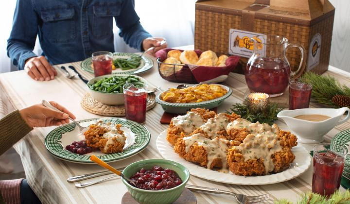 Cracker Barrel family meal on a table.