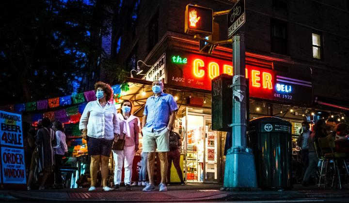 Outdoor dining in New York City during COVID-19 restrictions.
