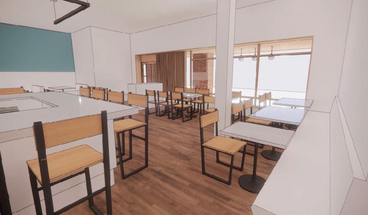Crawford Cookshop interior rendering.