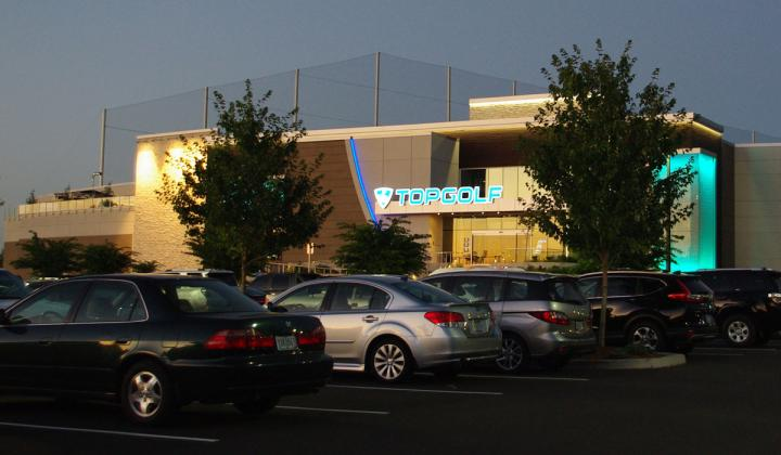 Topgolf exterior as seen from the parking lot.