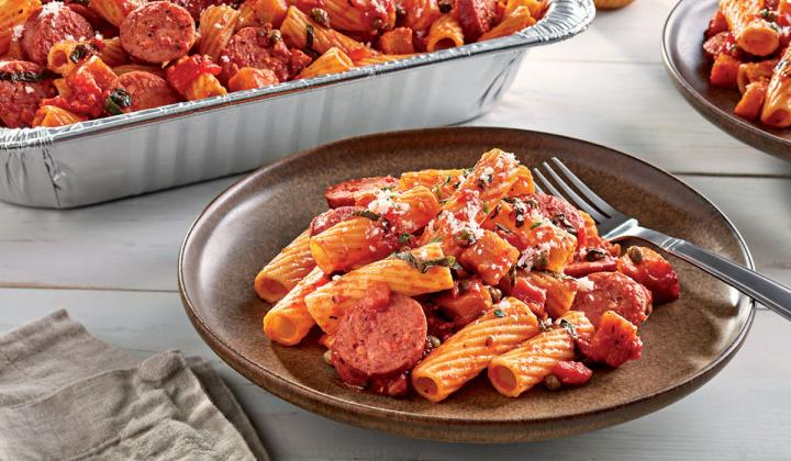 Chef Kevin Felice's Barilla Rigatoni with Sausage Caponata.