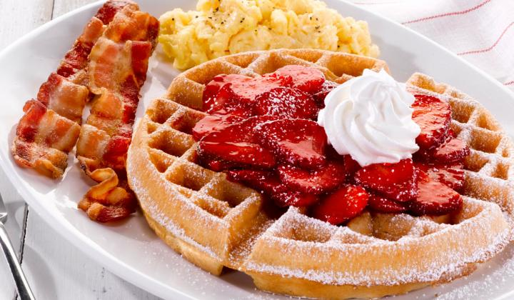 Perkins Restaurant & Bakery waffle with strawberries.