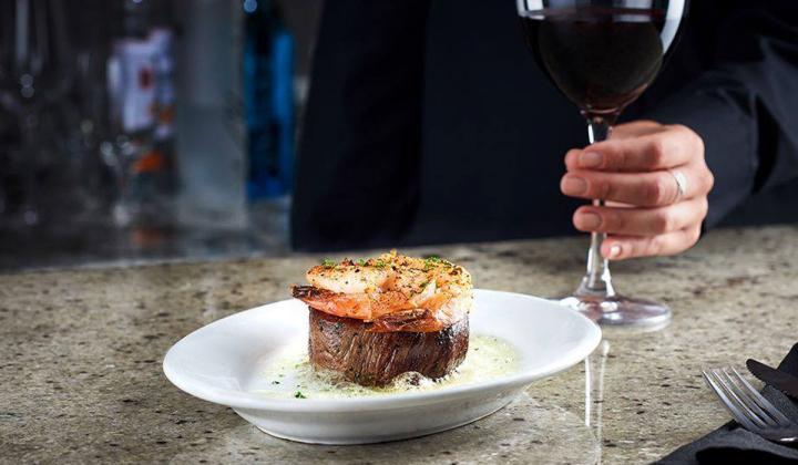 Ruth's Chris steak and wine.