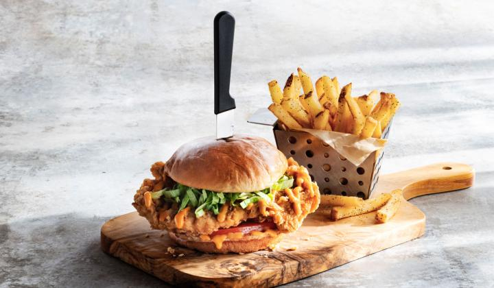 Chili's chicken sandwich and fries.