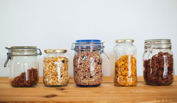 Glass jars of food.