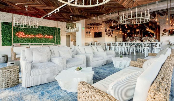 THe Hampton social embraces the airy, beach vibe of its namesake destination location.