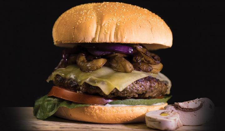 Woody's Bar-B-Q Mushroom Swiss Burger