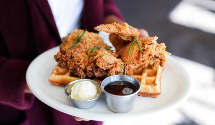 Poppy + Rose Chicken and Waffles.