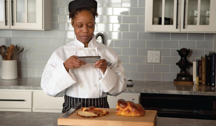 for hands-on classes, online students document their cooking process.