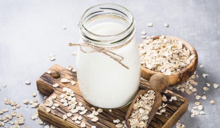 Oat Milk in a jar.