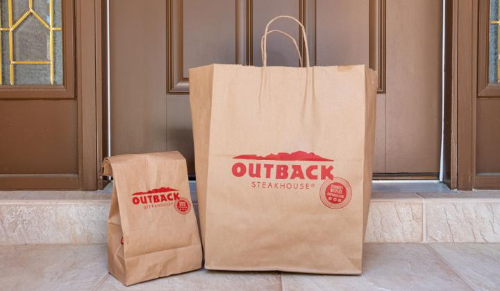 Outback Steakhouse takeout food order delivered to home doorstep.